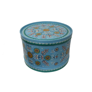 "Wooden box with lid ""Shenkurskiy blue painting"" round 23.5 cm"