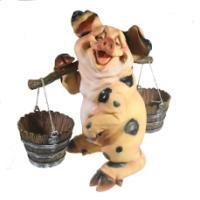 """Remeko / Decorative figure """"Pig with a yoke"""" (with spots) L22W19H34"""