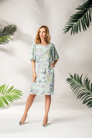 Dress with floral print viscose