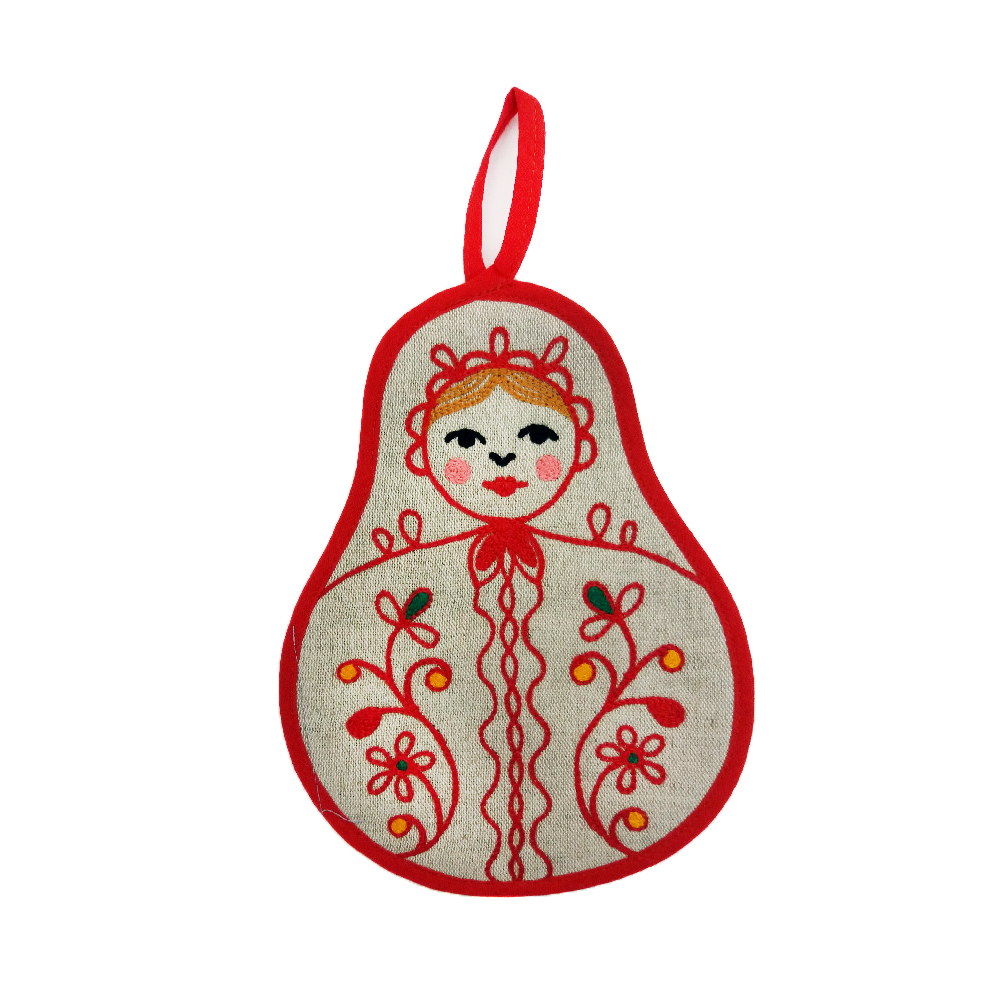 "Potholder ""Matryoshka"" red embroidery"