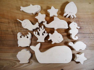 A set of wooden toys