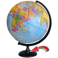 Earth globe political relief with battery backlit (battery Not included!) NEW