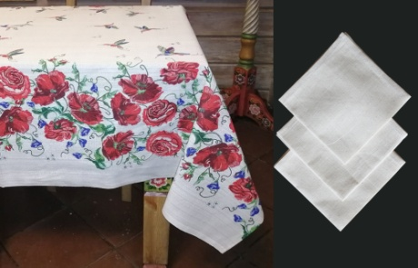"Gift workshop / Matting tablecloth ""Red Flowers"" with napkins"