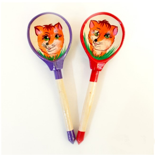 "Spoon wooden canteen with painted ""Fox"""