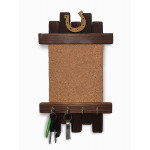 Universal scroll / Key holder wooden wall-mounted handmade with a cork square