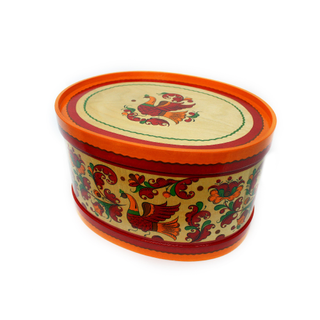 """Wooden box with lid """"Boretskaya painting"""" oval 20.5 cm"""