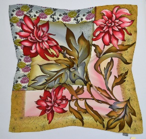 "Silk scarf ""Chrysanthemum"""