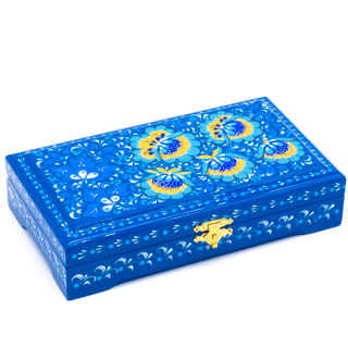 """The box """"Blue flowers"""" is wooden with flat cover 180х100"""