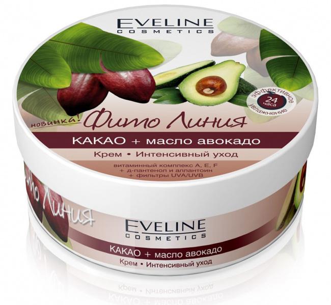 Cream intensive care: cocoa+avocado oil series phyto line, Eveline, 210 ml