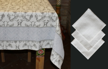 The cloth of twill 'Black and white' pattern napkins