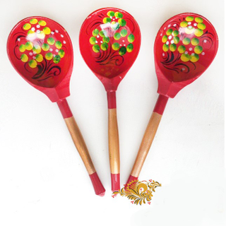 Spoon wooden canteen with painted