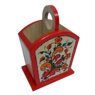 "Pencil holder wood ""Boretskaya painting"" 2 compartment"