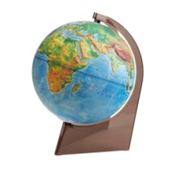 Earth globe physical relief on a triangle