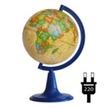 "Earth globe political ""Retro-Alexander"" backlit"