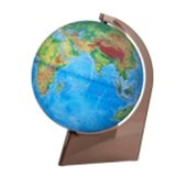 Physical earth globe on a triangle