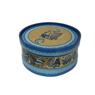 "Wooden box with lid ""blue Rakulskaya painting"" round 14 cm"