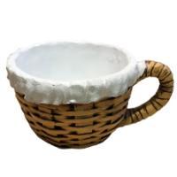 Remeko / Decorative planter ('Wicker Cup' (with napkin) L22W17H11,5 cm)