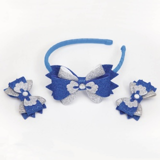 """Set """"Headband and hair clips for girls"""" blue-silver"""