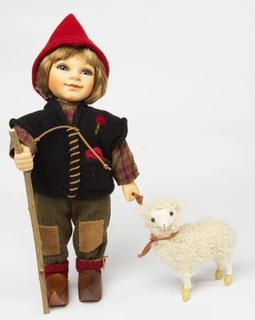 "Porcelain doll Birgitte Frigast ""ALFRED"" with lamb"