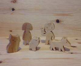 A set of wooden toys,