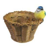 """Remeko / Ornamental flowerpot """"Titmouse on a wicker basket"""" L17W17H17"""