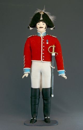 Doll gift porcelain. A cavalry officer. Military suit. 1830, Russia.