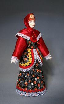 Doll gift porcelain. Russia. Traditional Cossack costume.