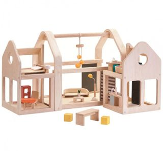 Wooden doll house 3 sections