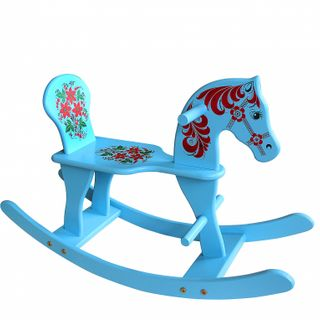 "Khokhloma painting / Wooden rocking chair for children ""Horse"""