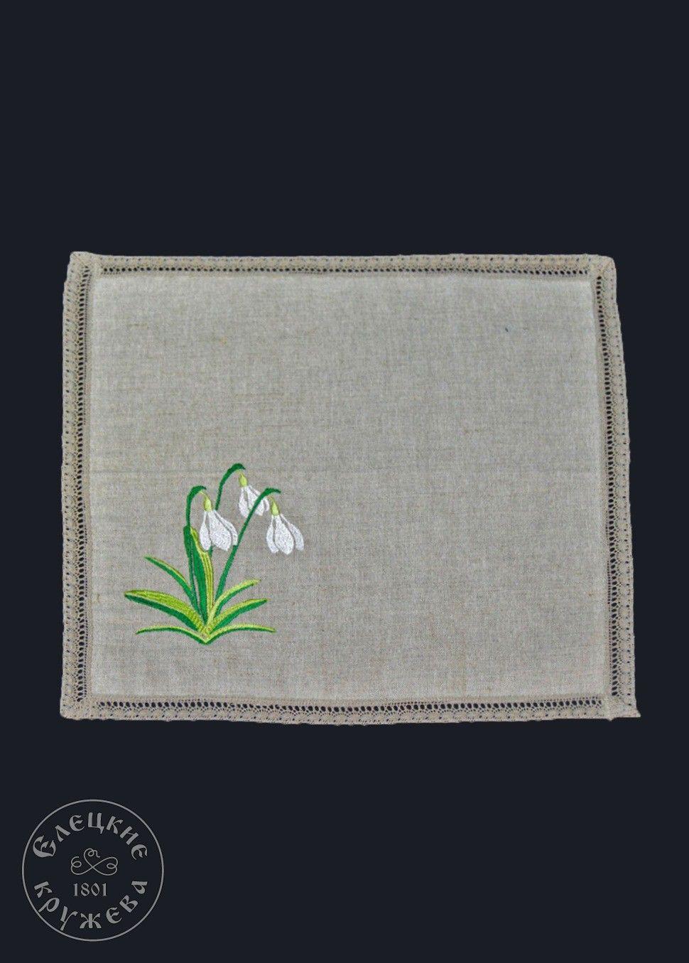 "Yelets lace / Linen napkin ""Snowdrops"""