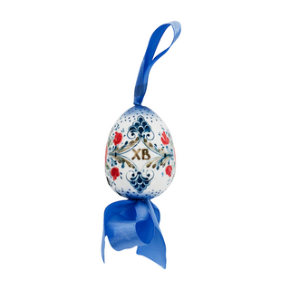 Easter egg with bow, Gzhel Porcelain factory
