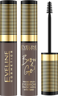 Lasting eyebrow mascara with microfibre: 03 series soft brown brow & go! Eveline, 6 ml