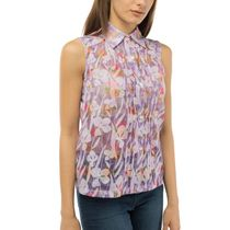 Women's blouse 'Watercolor' purple with floral patterns