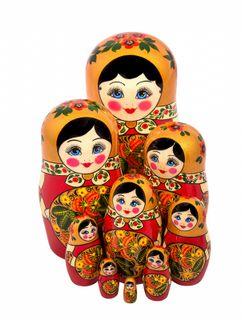 Khokhloma nesting doll 9 dolls