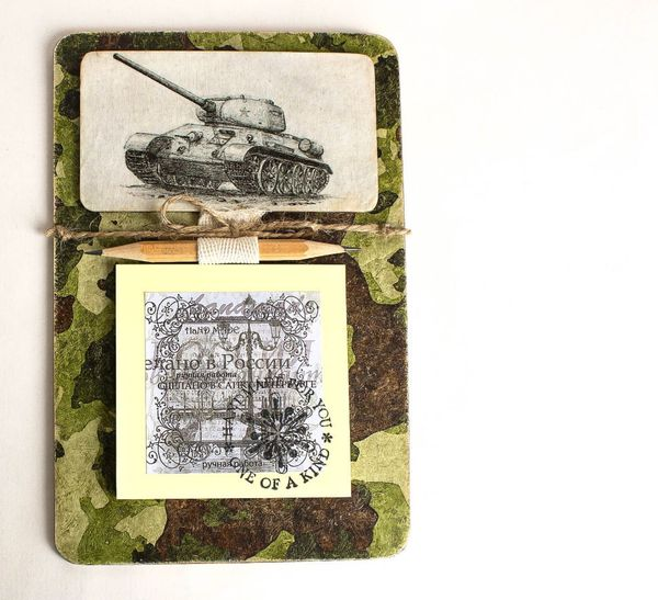 Unisex handmade souvenir magnet to the Tankman with a notebook for notes