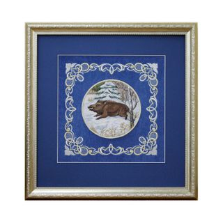 "Mural ""Boar"" blue with gold embroidery"
