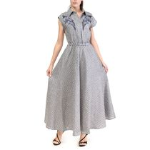 Dress women 'Grisaille' blue with silk embroidery