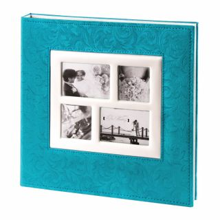 BRAUBERG wedding photo album, 20 magnetic sheets 30х32 cm, textured leather, blue