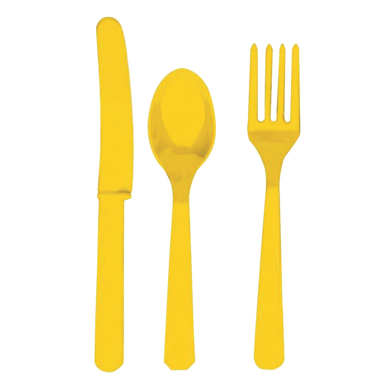 FUNNY ZATEYA / Reusable cutlery (knives, forks, spoons), 24 pcs set, plastic, yellow