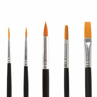 BRAUBERG brushes, set of 5 PCs (synthetic round No. 1, 2, 5, flat No. 5, 8), blister