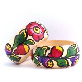 Bracelet with painted polkhovskiy Maydan