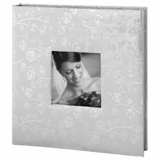 BRAUBERG wedding photo album, 20 magnetic sheets 30х32 cm, the cover is textured under the skin, rings, silver