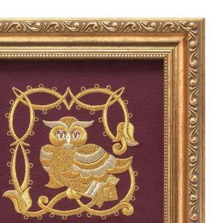 """Panel """"Owl"""" Burgundy with gold embroidery"""
