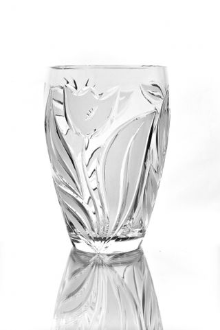 """Crystal vase for flowers """"Calathea"""" with engraving"""