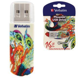 VERBATIM / Flash Drive 16 GB, Mini Tattoo Edition Phoenix, USB 2.0, white with pattern