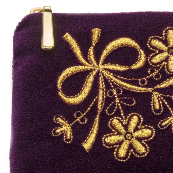 Velvet eyeglass case 'Holiday' purple with gold embroidery