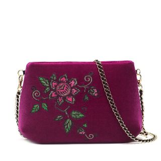 "Velvet bag ""Wisteria"" purple with gold embroidery"