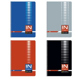 Notebook A4, 96 sheets, BRAUBERG, comb, cage, cover cardboard, INDEI