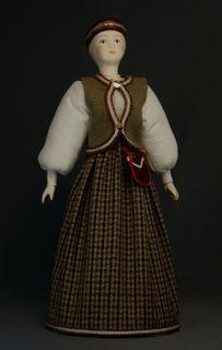 Doll gift porcelain. Karelia. Traditional girl suit.