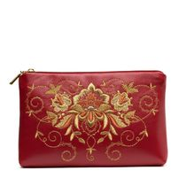 Leather pouch 'Success' Burgundy with gold embroidery